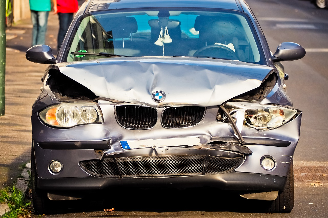 Front-End Of A BMW In Need Of Accident Recovery
